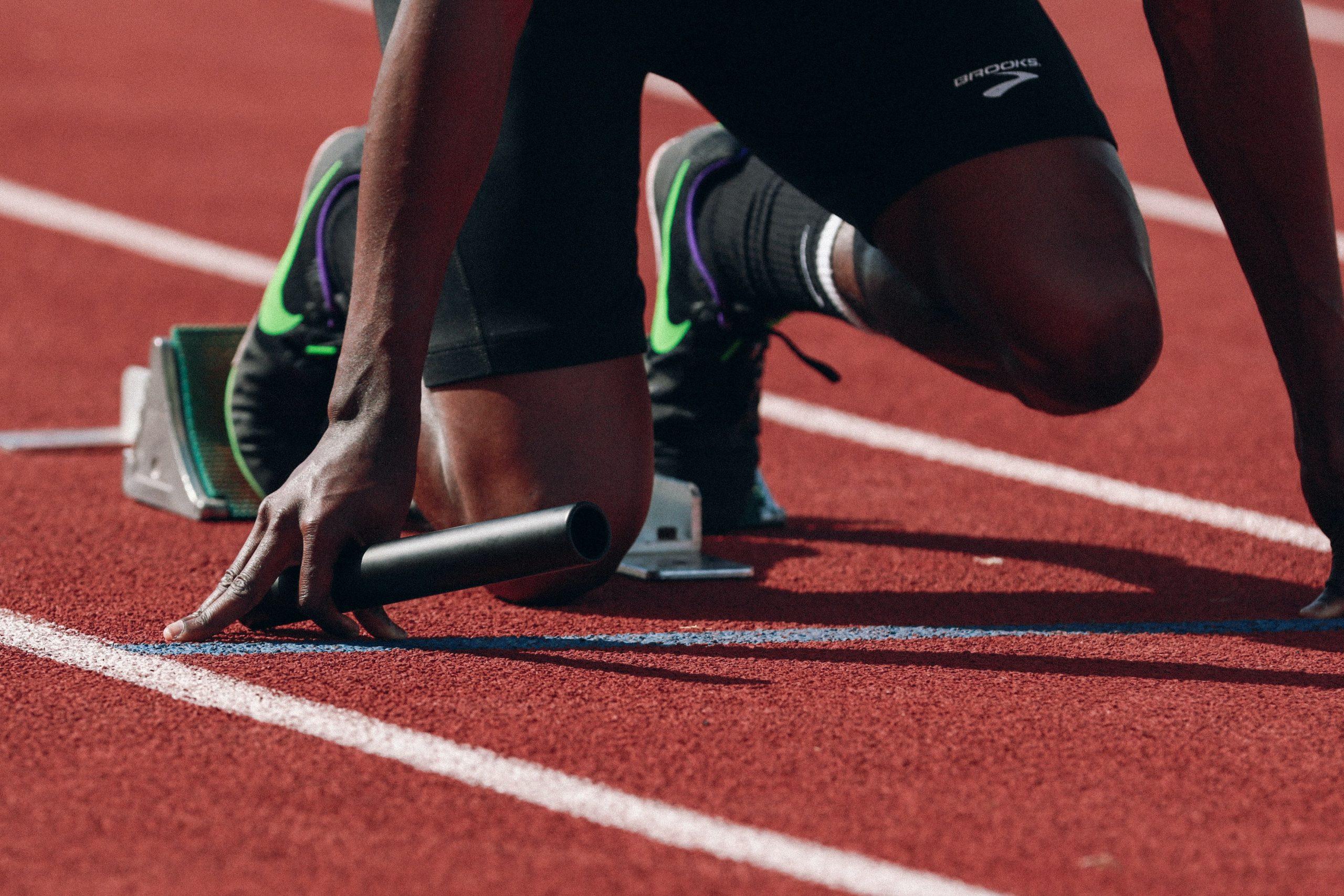 Runner on starting block